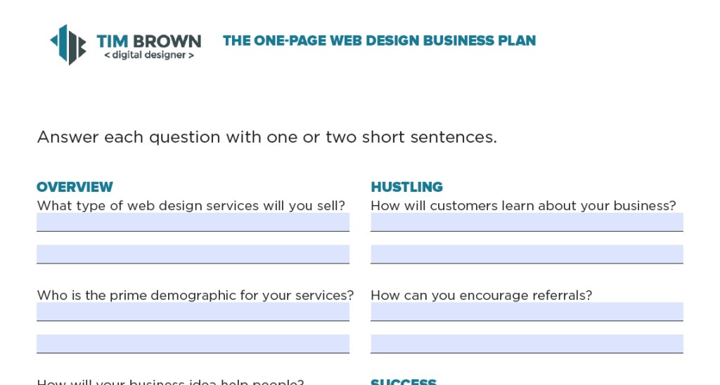 Web Design Business Plan  One Page Template  More