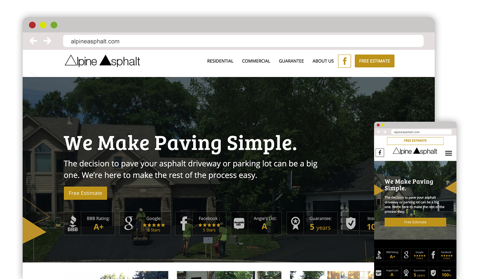 Asphalt and Paving web design and SEO