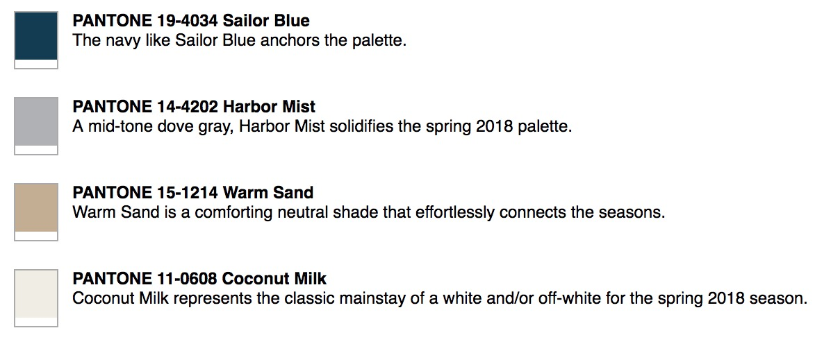 Subdued color trends of 2018 according to Pantone