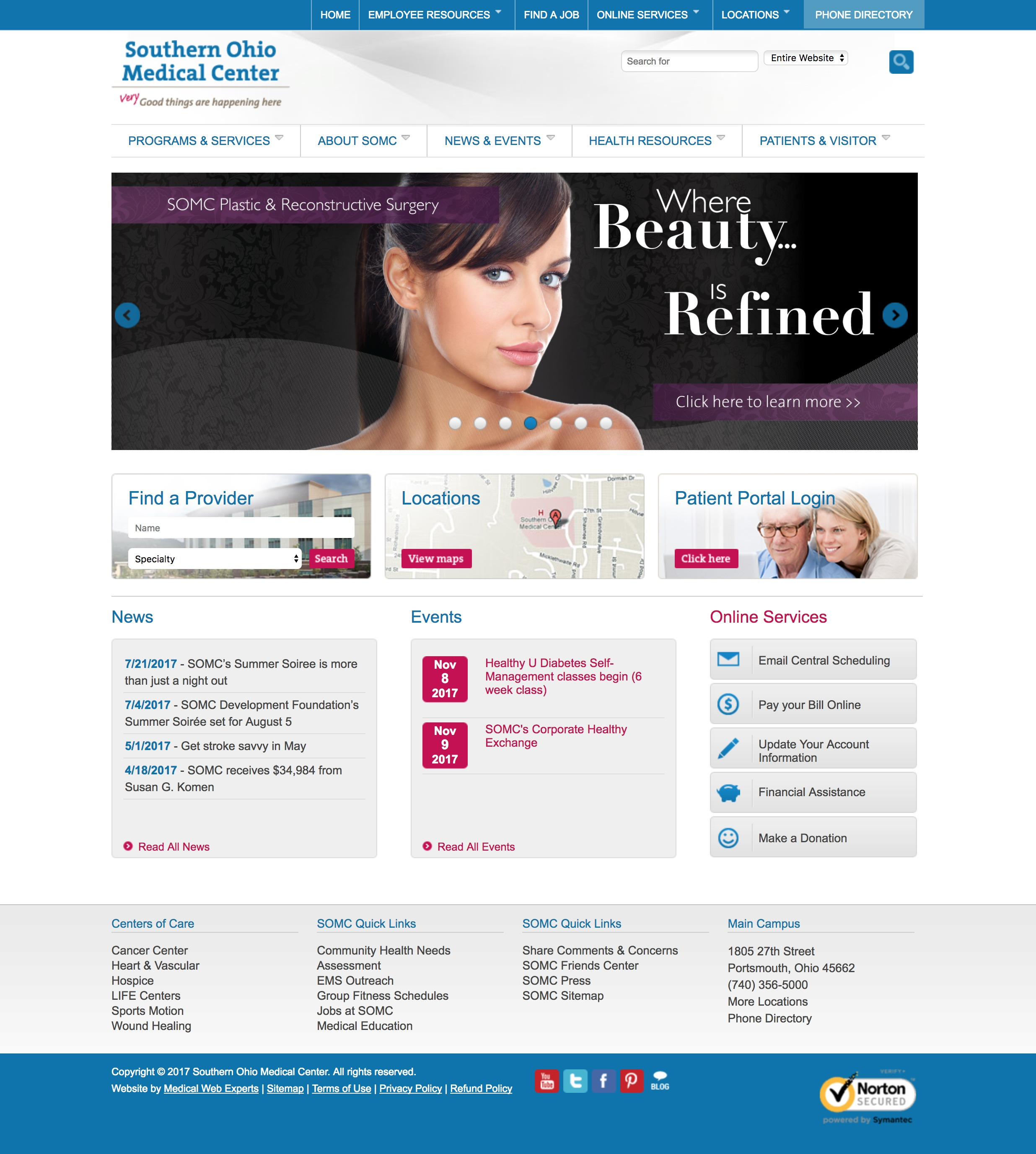 Medical Web Design Layout Souther Ohio Center
