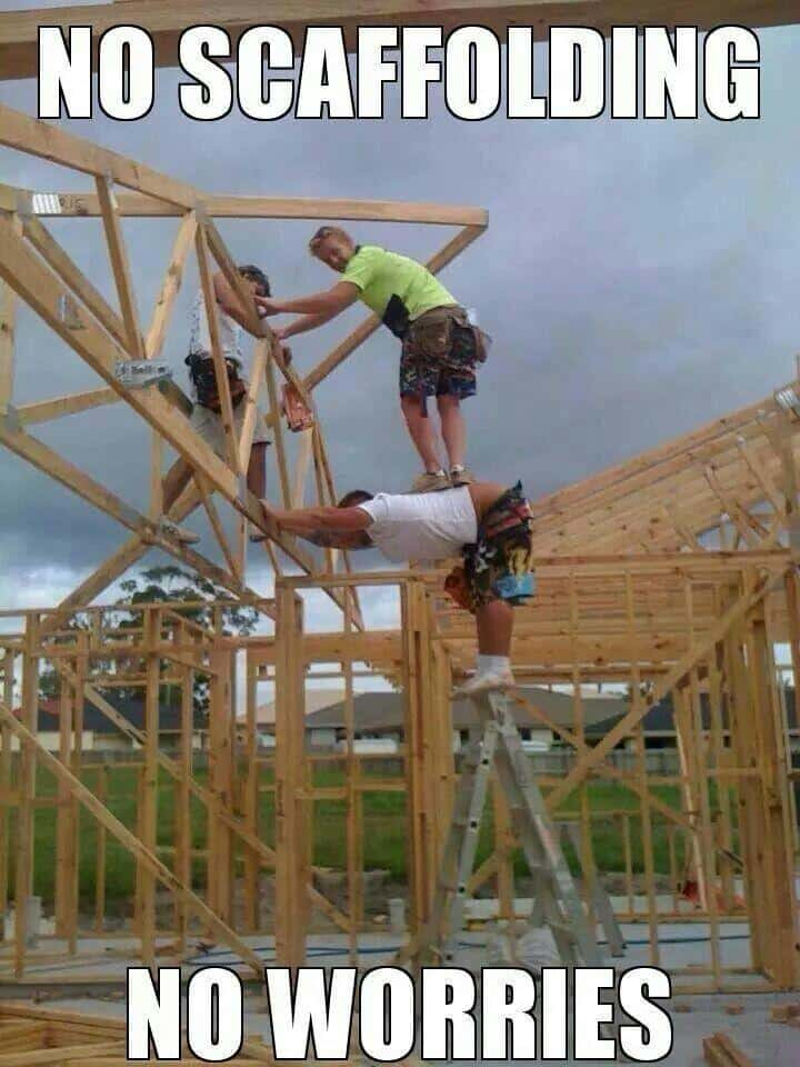 Construction meme of person being scaffolding.