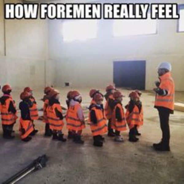 Construction meme of foremen leading children.