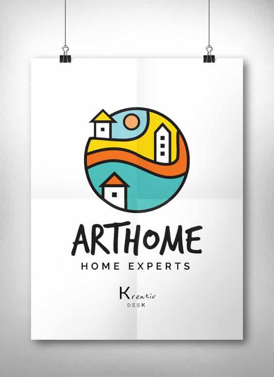 12 construction company logos to inspire your brand hook for Home interiors logo