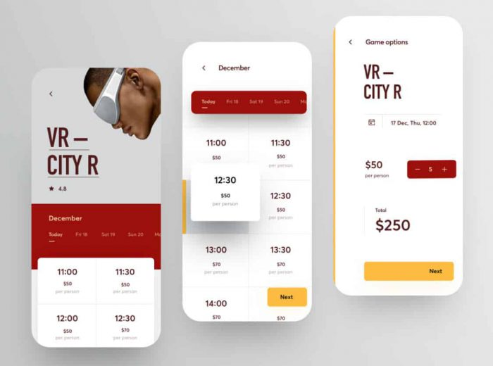 white yellow and red web design app design for luxury website color palettes