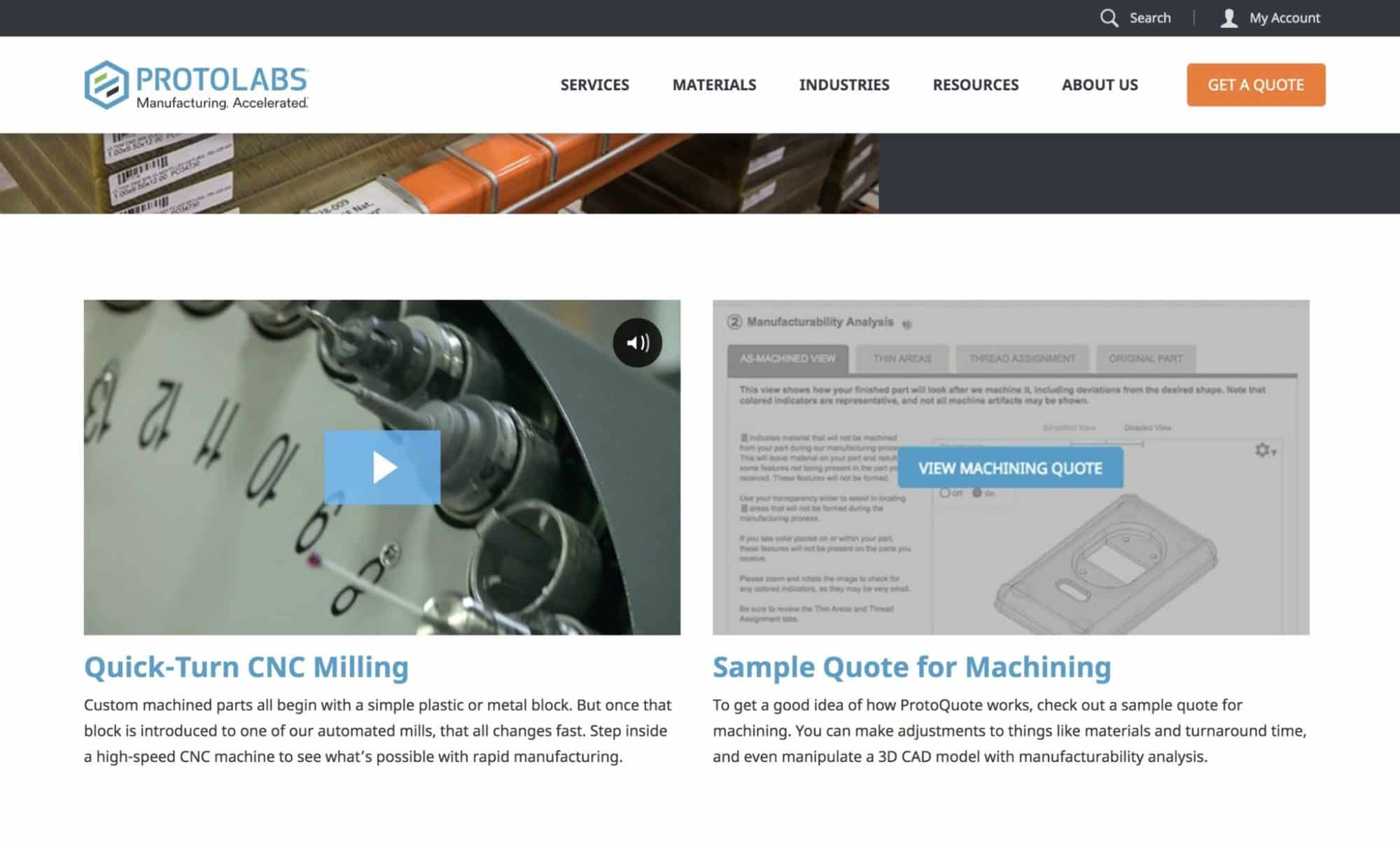 Manufacturing video example on website