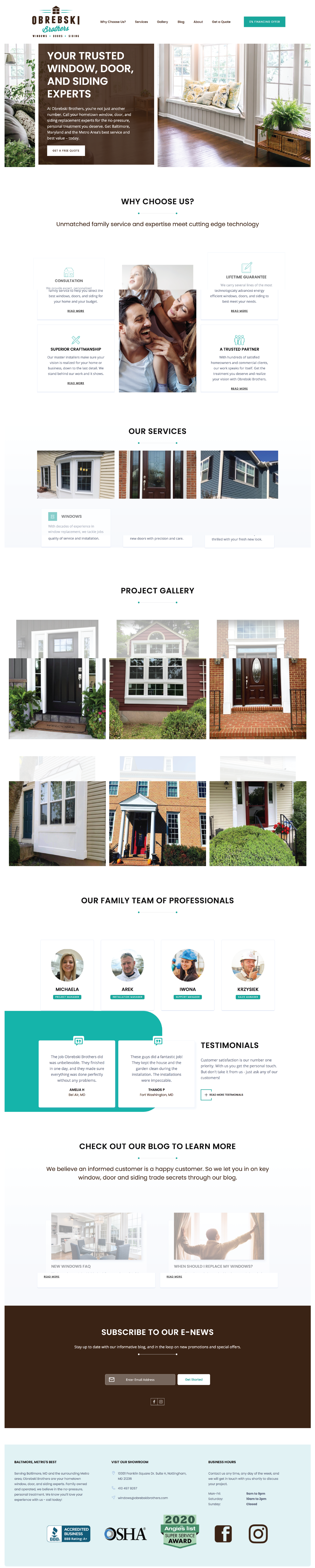 Windows and Doors contractor website design Inspiration from the Obrebski Borthers.
